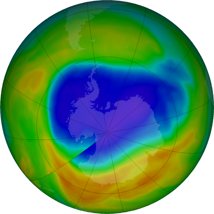 Antarctic ozone map for 20 October 2017