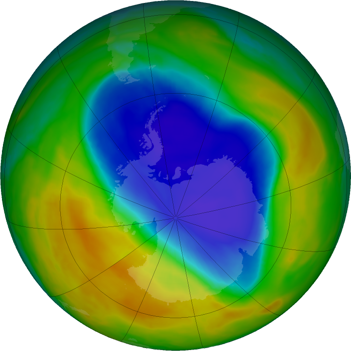 Antarctic ozone map for 23 October 2017