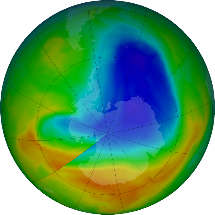 Antarctic ozone map for 27 October 2017