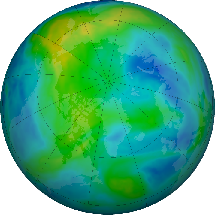 Arctic ozone map for 28 October 2017