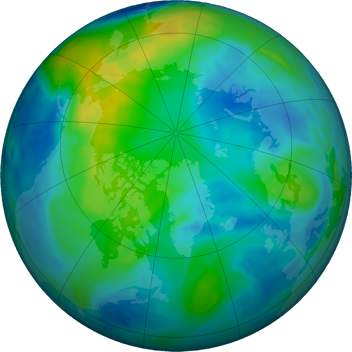 Arctic ozone map for 29 October 2017