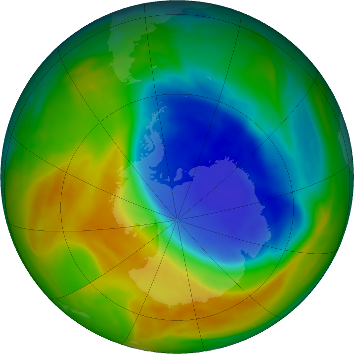 Antarctic ozone map for 30 October 2017
