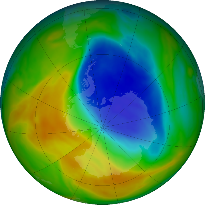 Antarctic ozone map for 31 October 2017