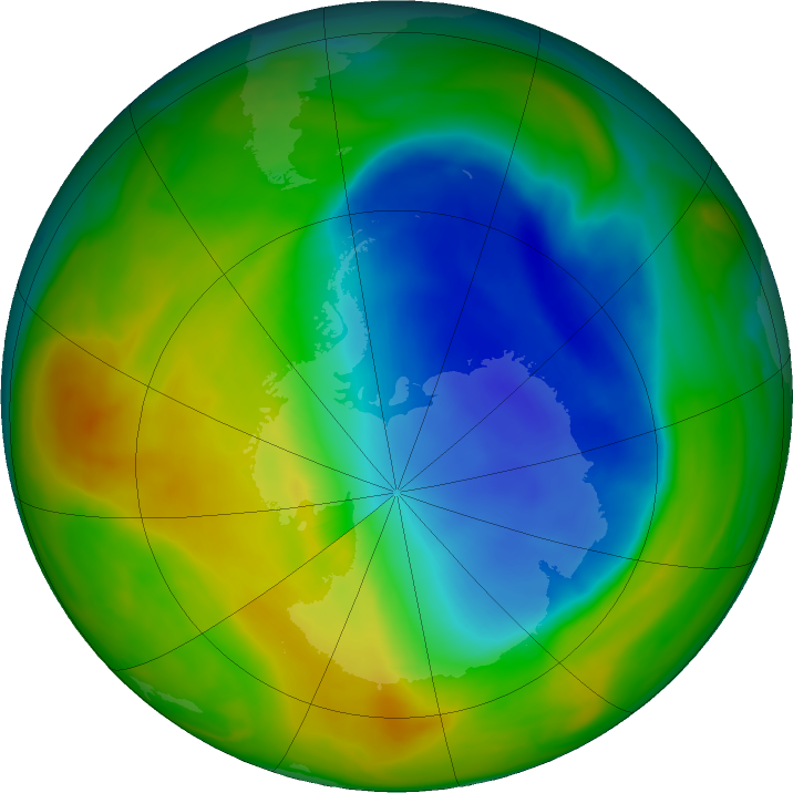 Antarctic ozone map for 02 November 2017