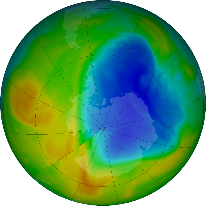 Antarctic ozone map for 03 November 2017