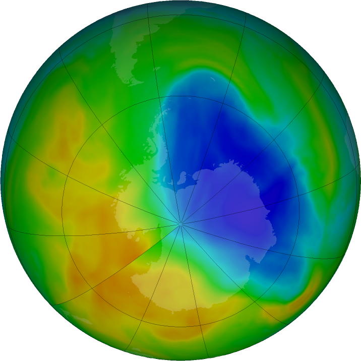 Antarctic ozone map for 05 November 2017