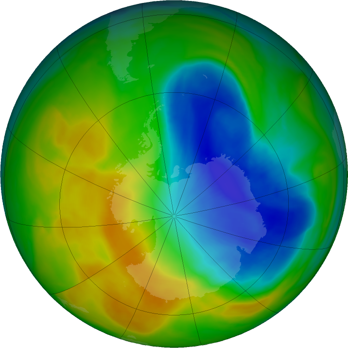 Antarctic ozone map for 06 November 2017