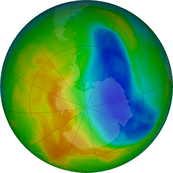 Antarctic ozone map for 07 November 2017