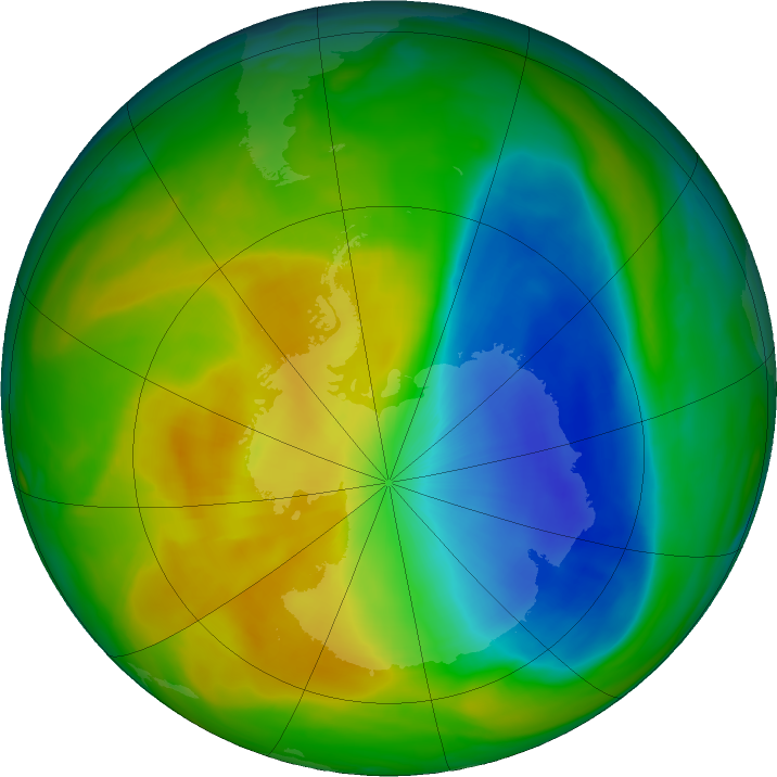 Antarctic ozone map for 09 November 2017