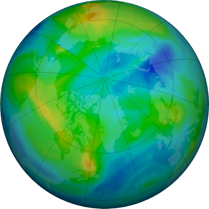 Arctic ozone map for 11 November 2017