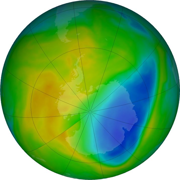 Antarctic ozone map for 12 November 2017