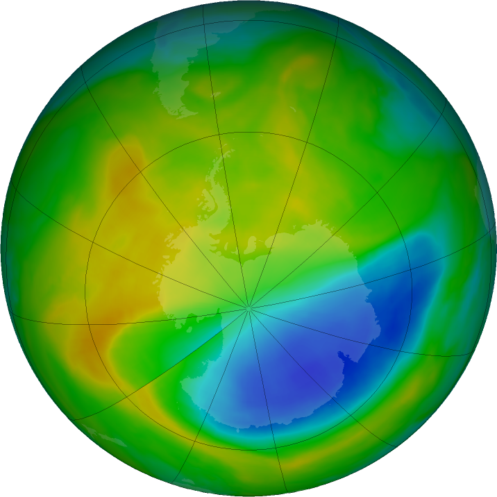 Antarctic ozone map for 14 November 2017