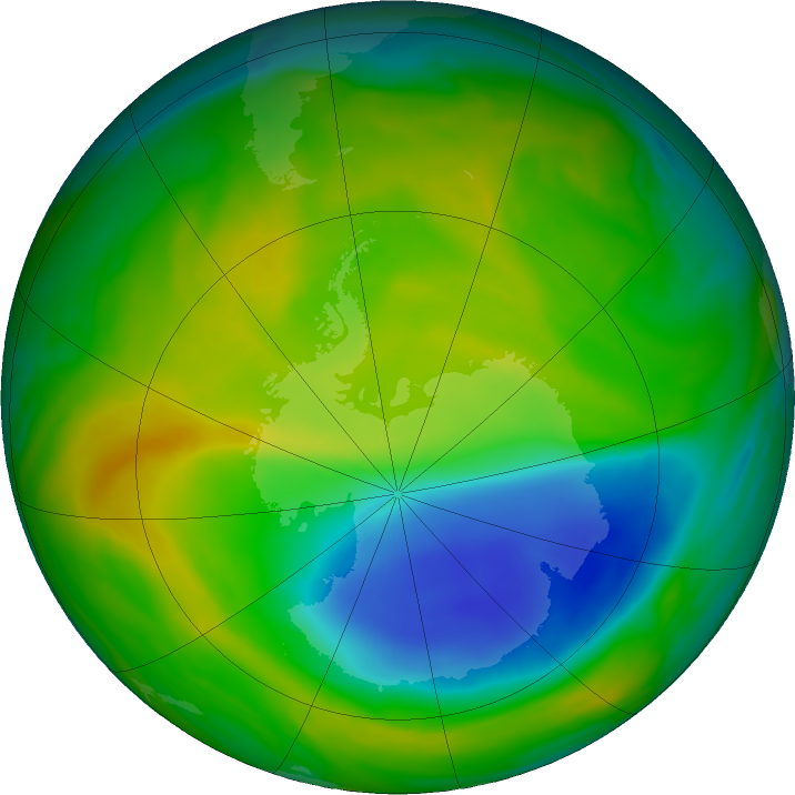 Antarctic ozone map for 15 November 2017