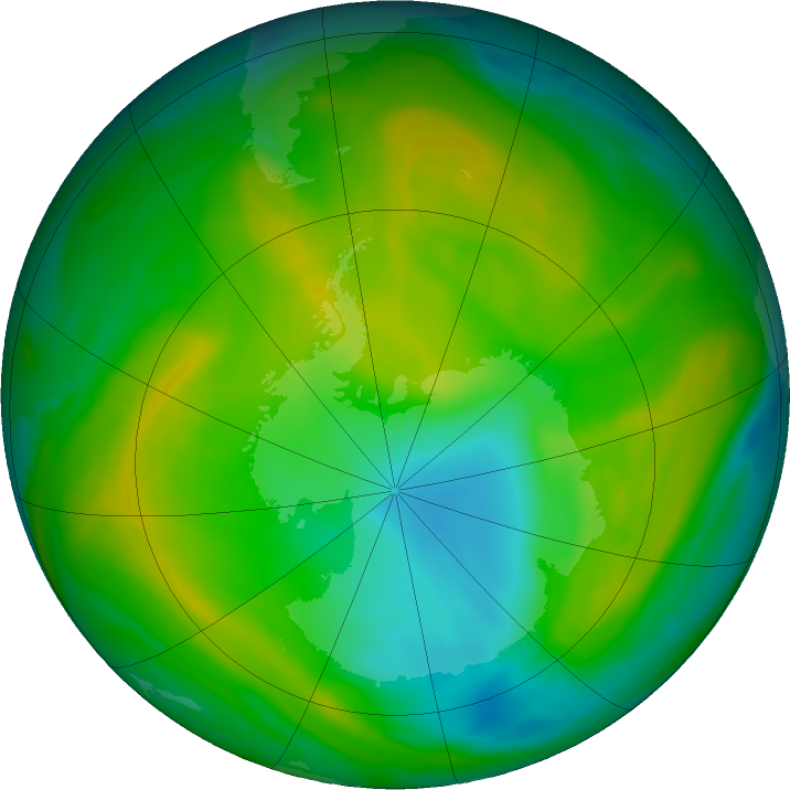Antarctic ozone map for 22 November 2017