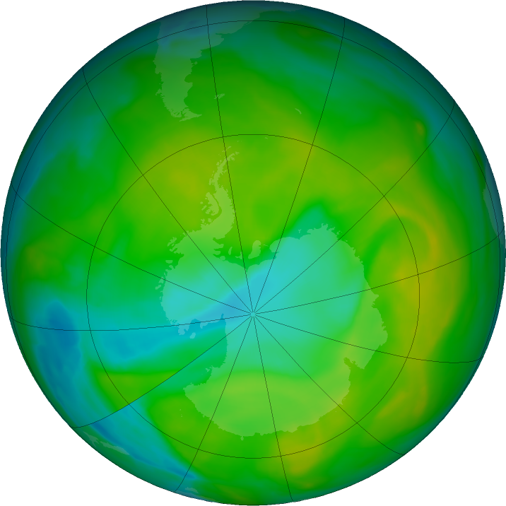 Antarctic ozone map for 01 December 2017