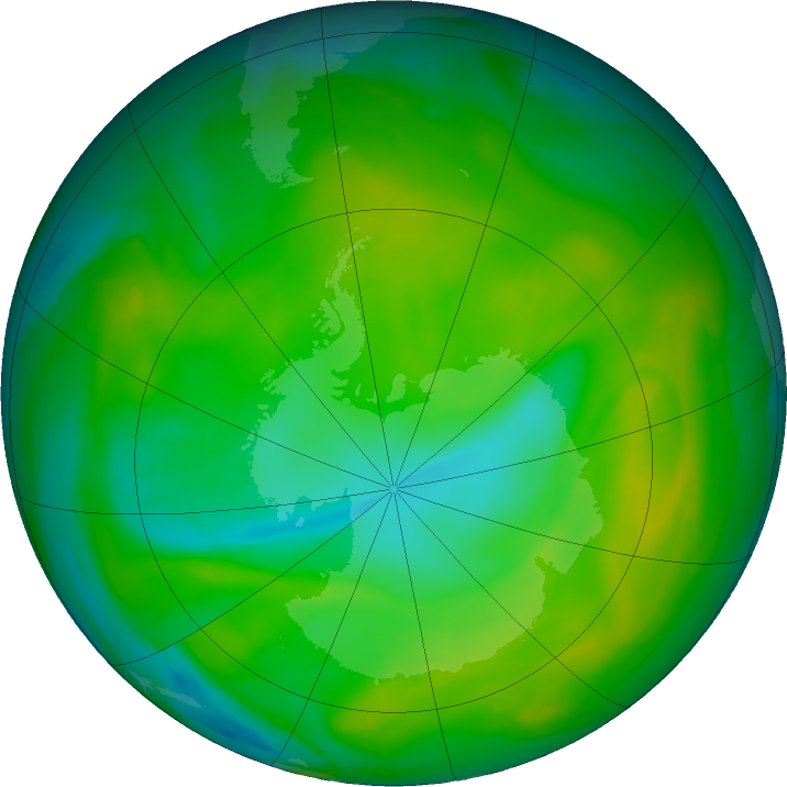 Antarctic ozone map for 02 December 2017
