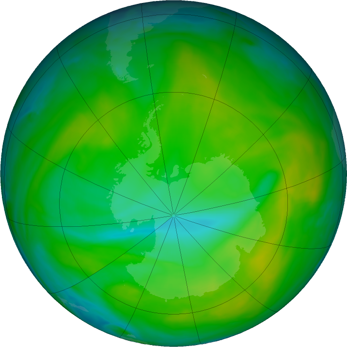 Antarctic ozone map for 03 December 2017