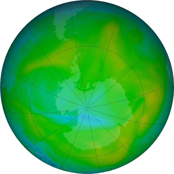 Antarctic ozone map for 04 December 2017
