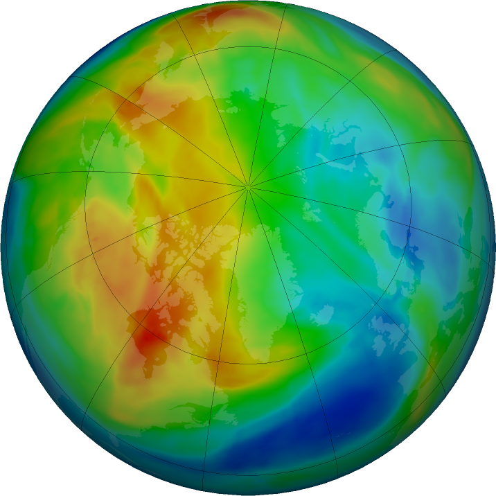 Arctic ozone map for 12 December 2017