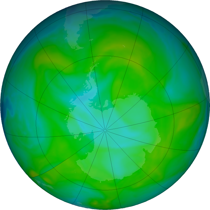 Antarctic ozone map for 19 December 2017