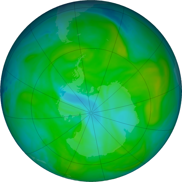 Antarctic ozone map for 24 December 2017