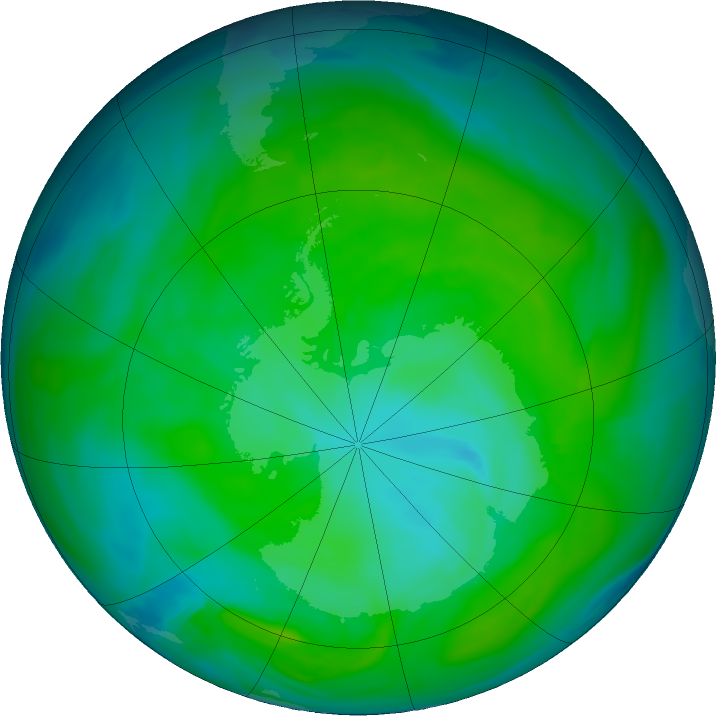 Antarctic ozone map for 31 December 2017