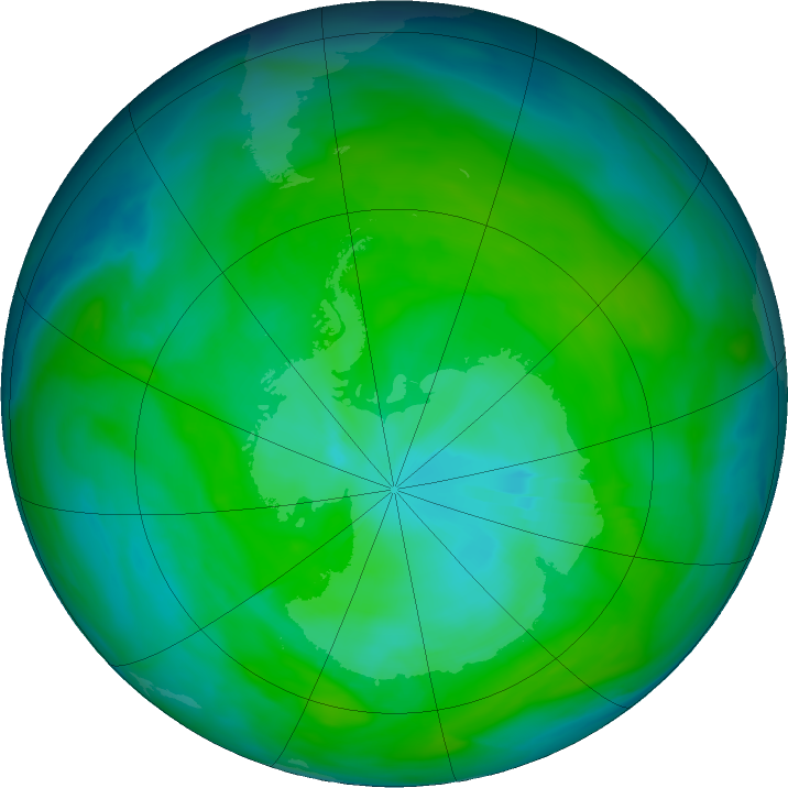 Antarctic ozone map for 01 January 2018