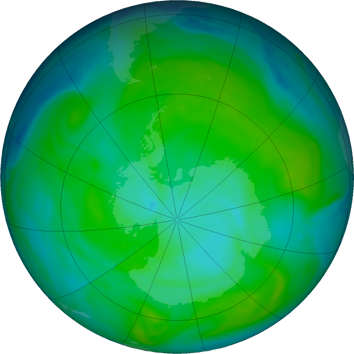 Antarctic ozone map for 02 January 2018