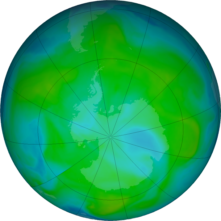 Antarctic ozone map for 06 January 2018