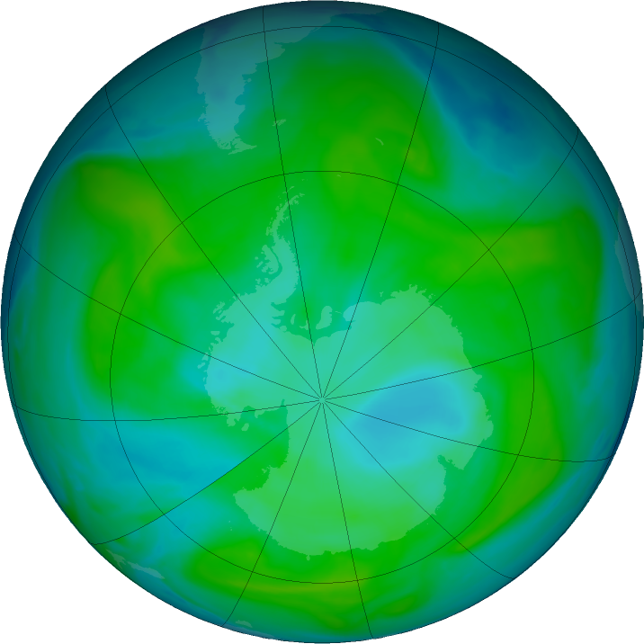 Antarctic ozone map for 07 January 2018