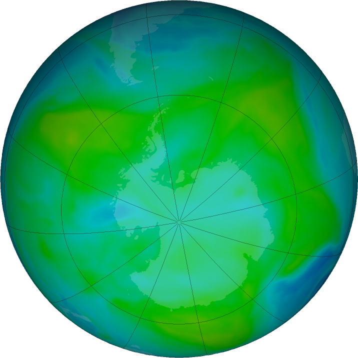 Antarctic ozone map for 10 January 2018