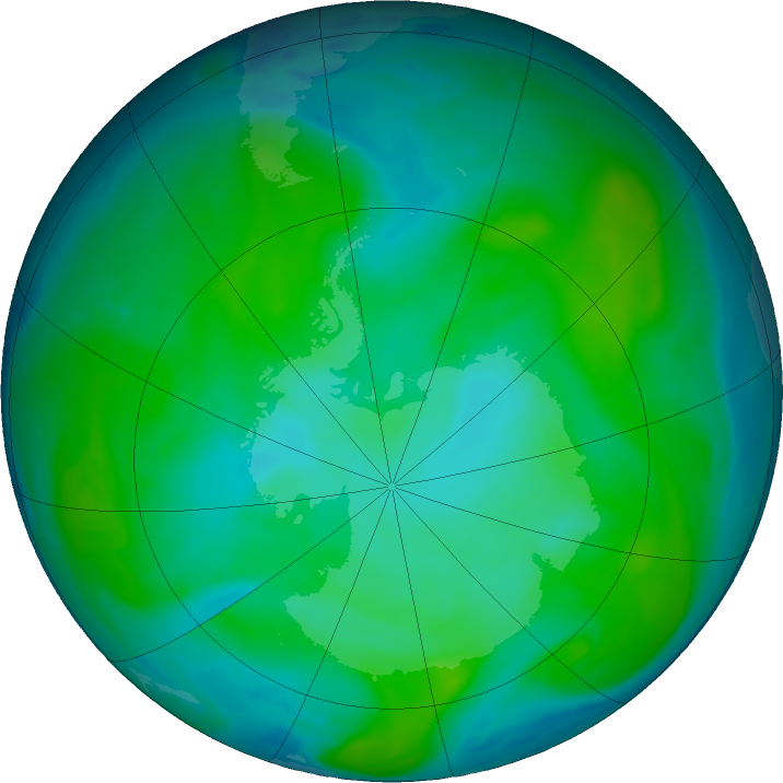 Antarctic ozone map for 12 January 2018