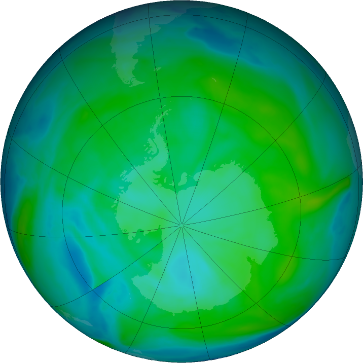 Antarctic ozone map for 15 January 2018