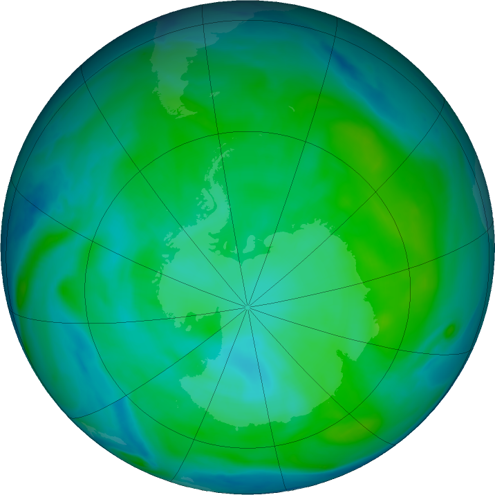 Antarctic ozone map for 16 January 2018