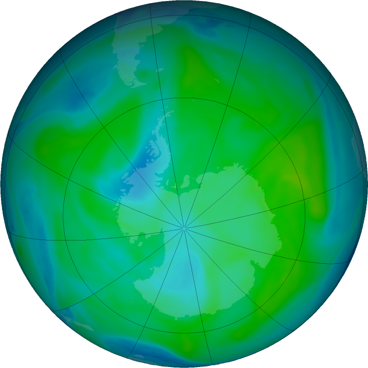 Antarctic ozone map for 18 January 2018