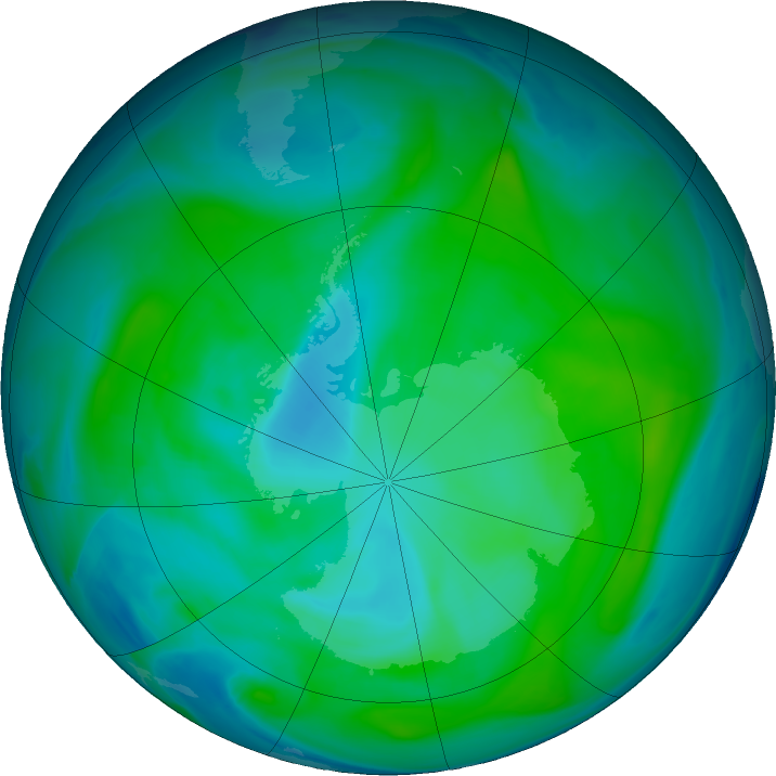Antarctic ozone map for 19 January 2018