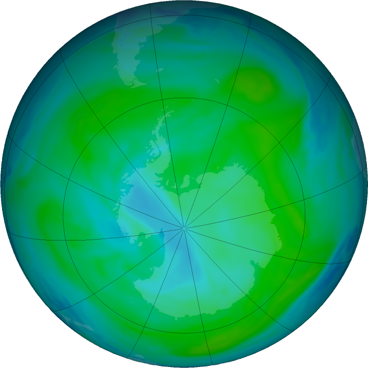 Antarctic ozone map for 21 January 2018