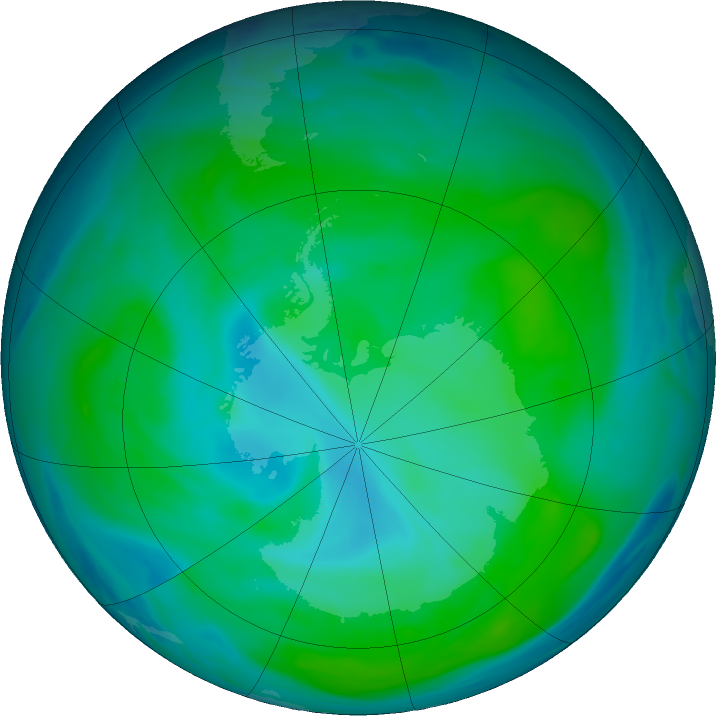 Antarctic ozone map for 22 January 2018