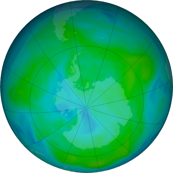Antarctic ozone map for 23 January 2018