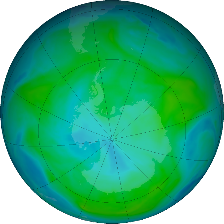 Antarctic ozone map for 24 January 2018