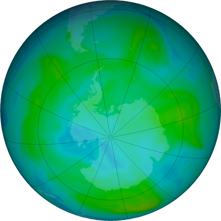 Antarctic ozone map for 26 January 2018