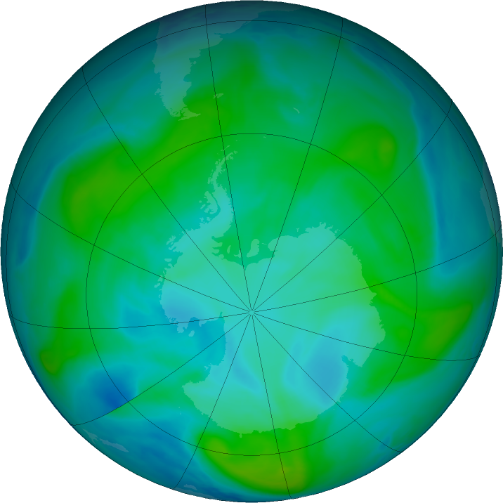 Antarctic ozone map for 28 January 2018