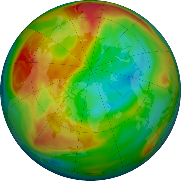 Arctic ozone map for 29 January 2018
