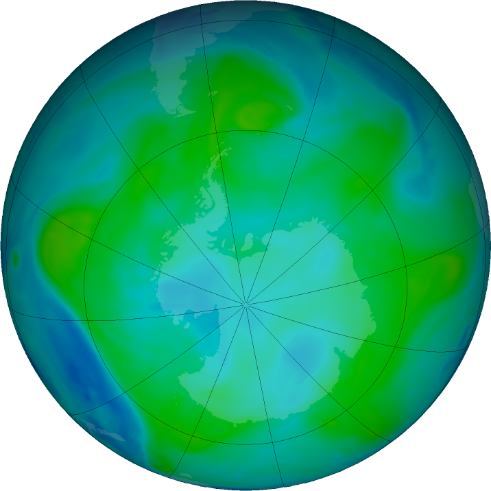 Antarctic ozone map for 31 January 2018