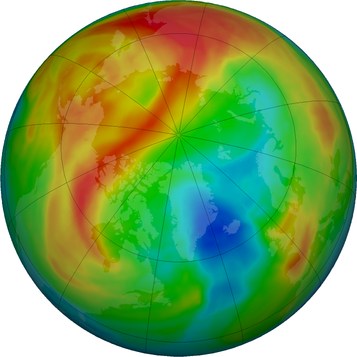 Arctic ozone map for 01 February 2018