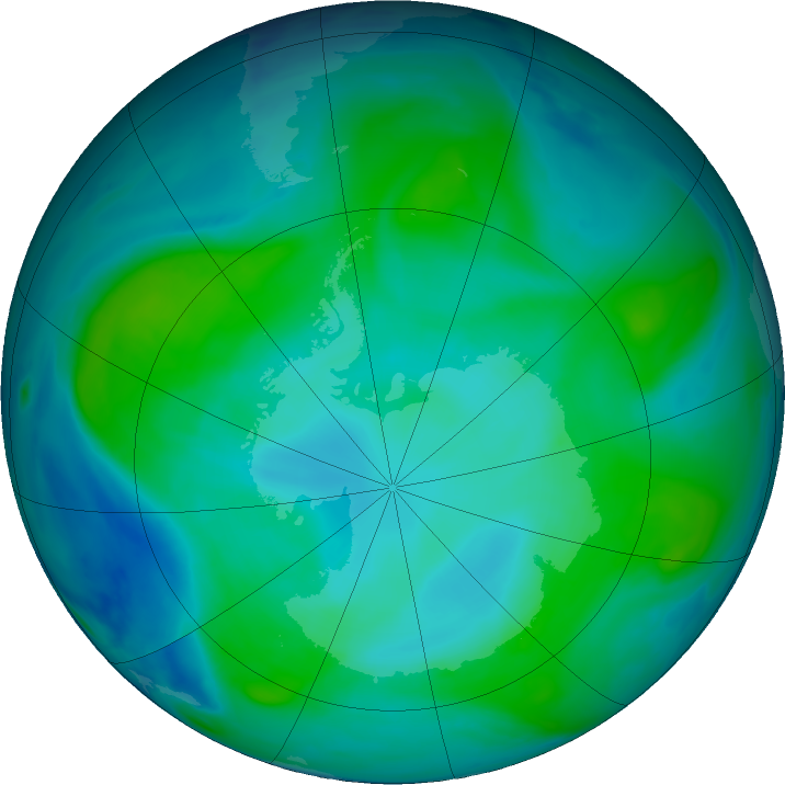 Antarctic ozone map for 01 February 2018