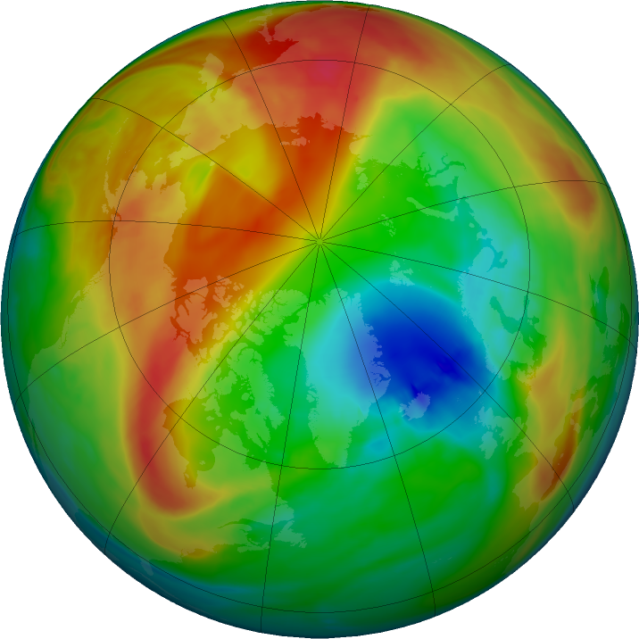 Arctic ozone map for 02 February 2018