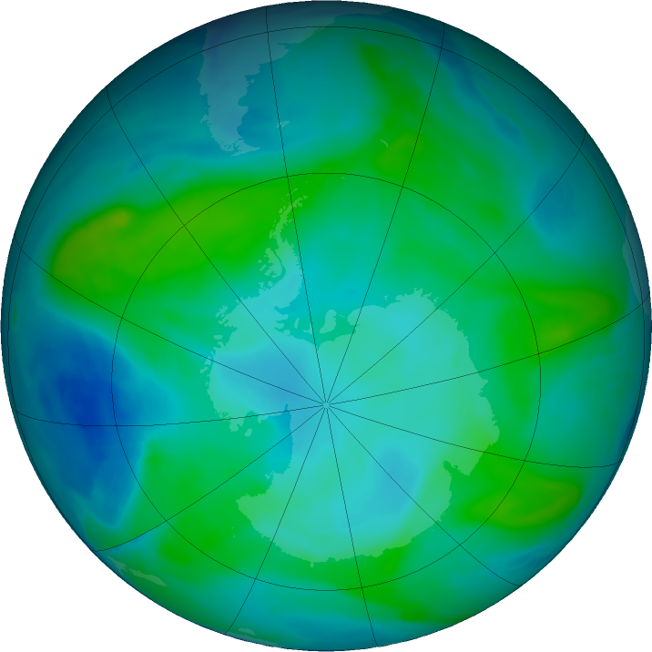 Antarctic ozone map for 02 February 2018