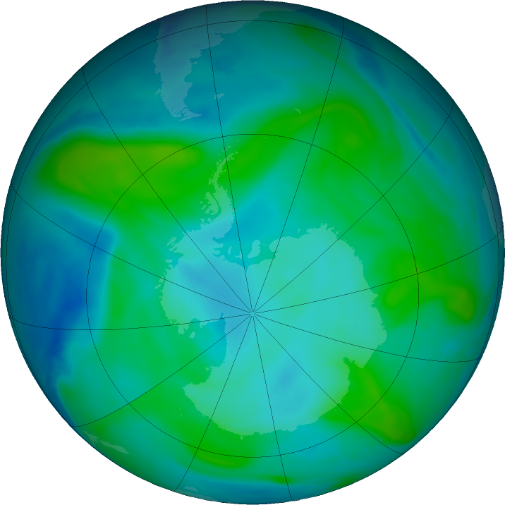 Antarctic ozone map for 03 February 2018