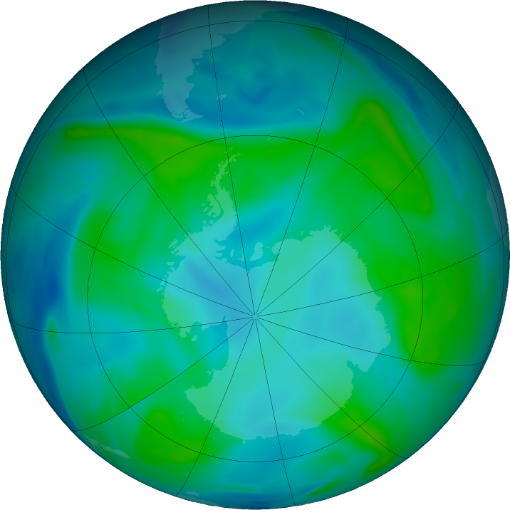 Antarctic ozone map for 04 February 2018